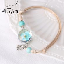 Luyun Ladies Bracelet Plant Dried Flower Exquisite Adjustable Rope Bohemian Ethnic Necklace Wholesale