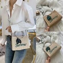 Women Lady Shoulder Bag Handwoven Rattan Handbags Knitted Satchel Tote bag Purse Summer Beach wicker rattan Large capacity
