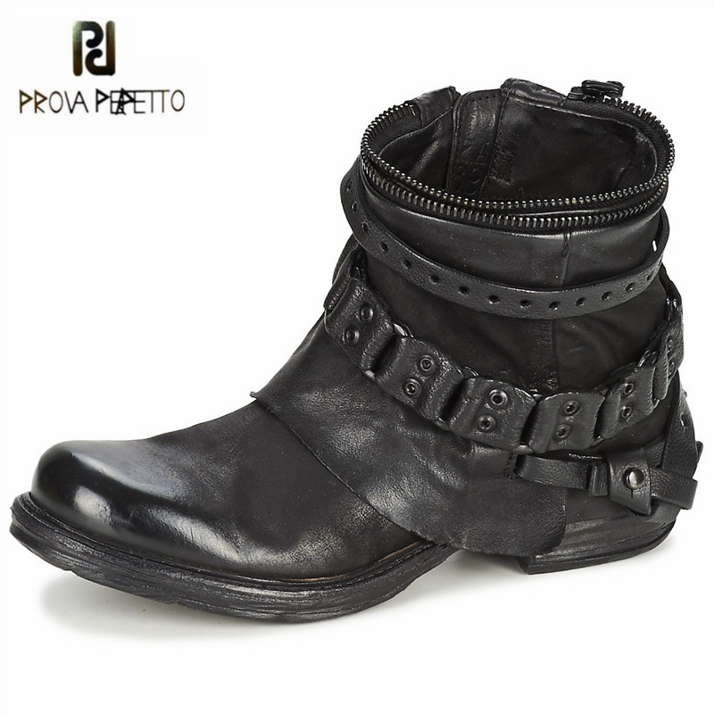 Prova Perfetto Punk Style Black Purple Genuine Leather Ankle Boots for Women Chain Decor Short Booties Female Flat Botas Mujer