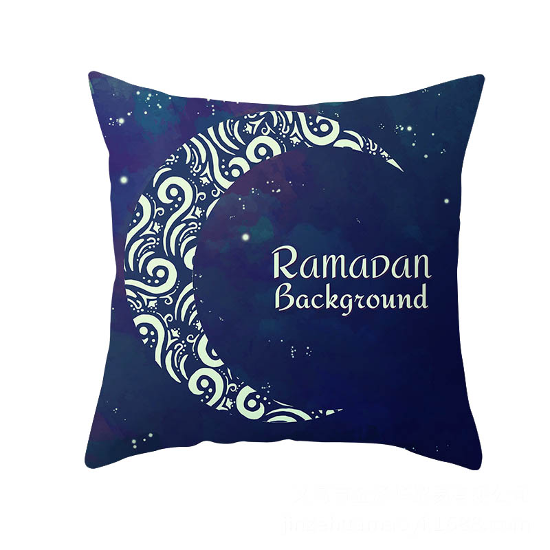2019 45x45cm Muslim Festival Ramadan Kareem Eid Islam Culture Element Moon Pillow Case Cover Home Sofa Waist Cushion Cover NCD