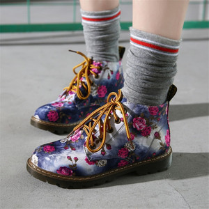 Image 3 - Cuculus סתיו נשים קרסול מגפי נמוך עקבים פרח דירות נעליים יומיומיות אישה אוקספורד השרוכים נעלי אופנוע בתוספת גודל 40 1416