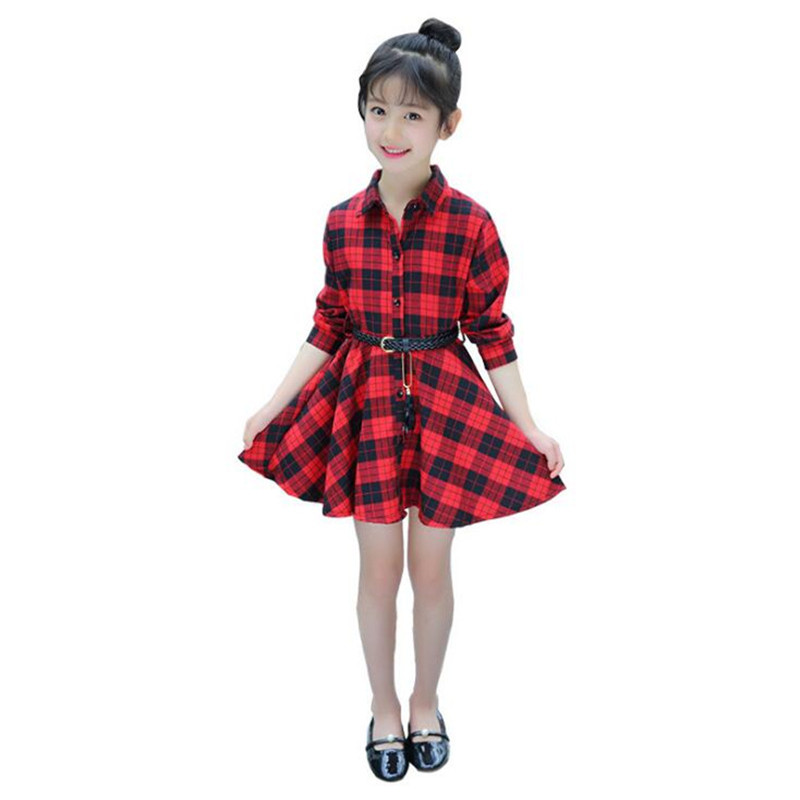 unparalleled wide selection of colors top-rated newest US $14.9 25% OFF|Elegant Girls Casual Long Sleeve Plaid Shirt Dress With  Belt Fashion Teenager Blouse Dresses 4 5 6 7 8 9 10 11 12 13 Years Old-in  ...