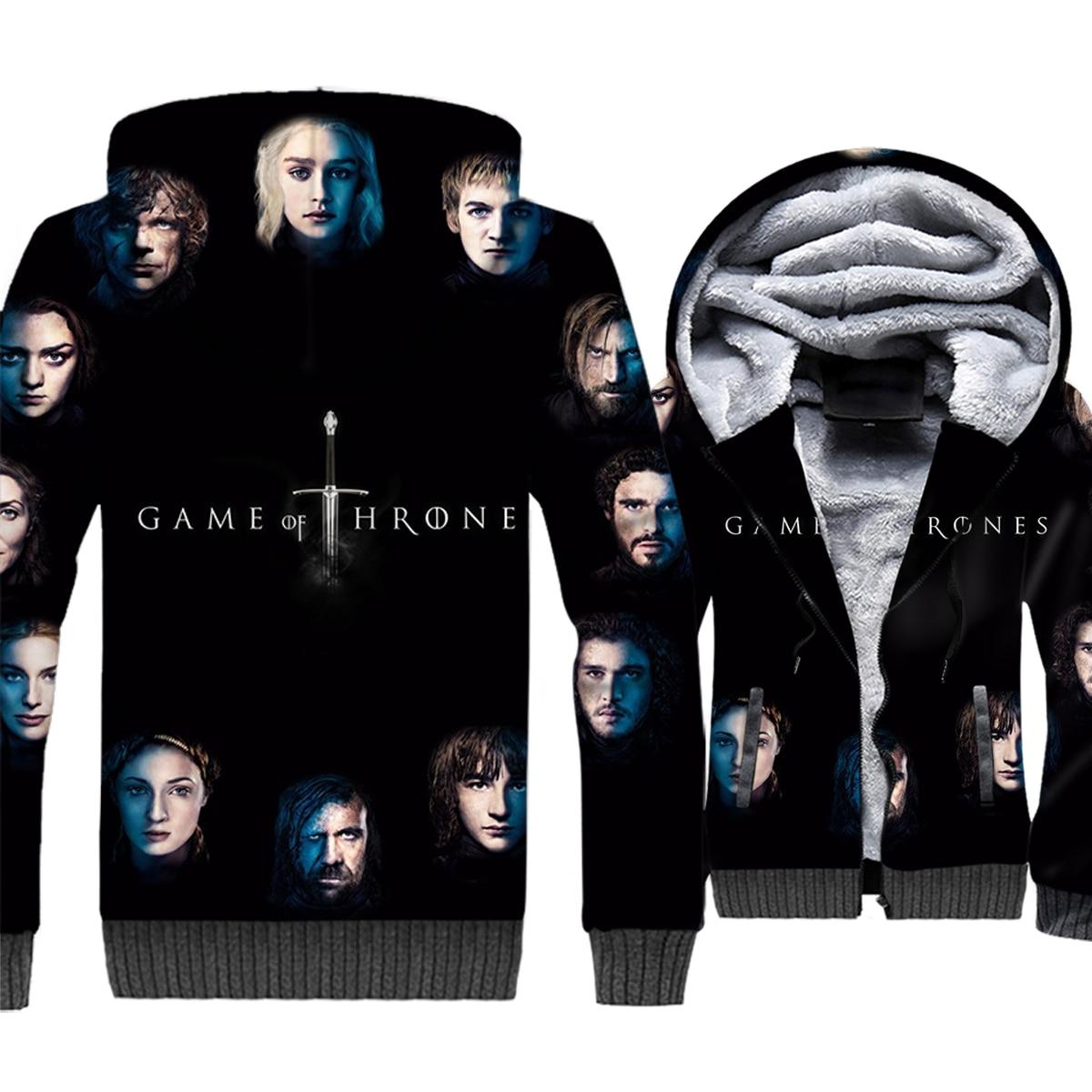 Game of Thrones 3D Print Hoodie Men House Stark Hooded Sweatshirt Winter Thick Fleece Warm Zip up Coat House Targaryen Jacket