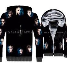 купить Game of Thrones 3D Print Hoodie Men House Stark Hooded Sweatshirt Winter Thick Fleece Warm Zip up Coat House Targaryen Jacket онлайн