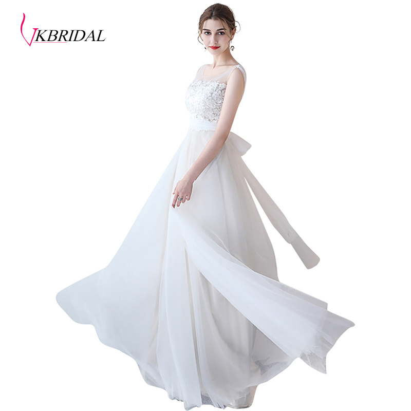 VKBRIDAL A-Line Sleeveless Lace Tulle White Bridesmaid Dresses With Belt Floor Length Chapel Train Open Back Chapagne Abendkleid