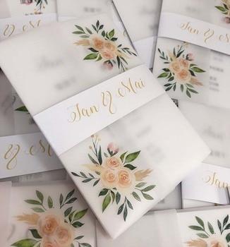 Custom Watercolor Floral Vellum Wedding Invitation with  Envelope CA0957