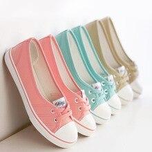 Весна легкие парусиновые туфли женская обувь туфли-Корейский прилив студентов ступил педали плоские туфли