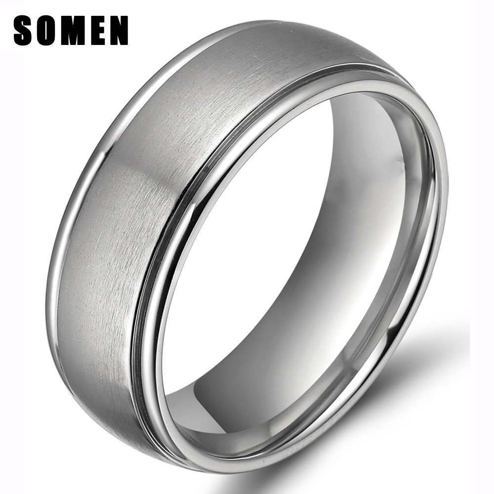 8mm Classic Vintage Silver Titanium Men Ring Brushed Engagement Rings  Wedding Band Male Jewelry Anel Masculino