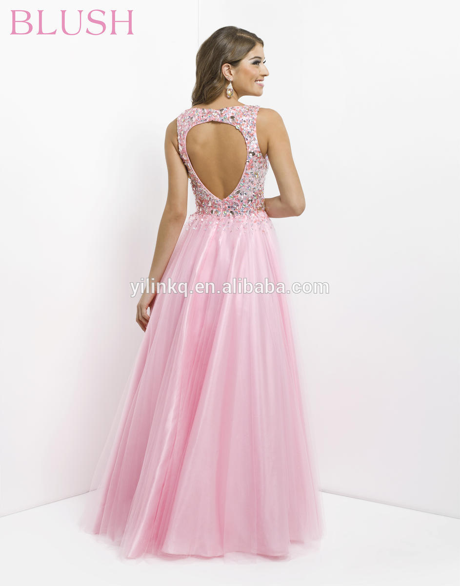 Fashion Long Prom Dresses Cheap 2014 Backless A line Blush Pink Cap ...