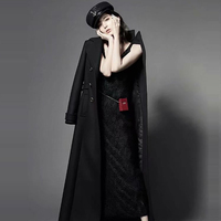2018 Women autumn winter double breasted black military long wool coat turn down collar slim casual work cashmere blends coat