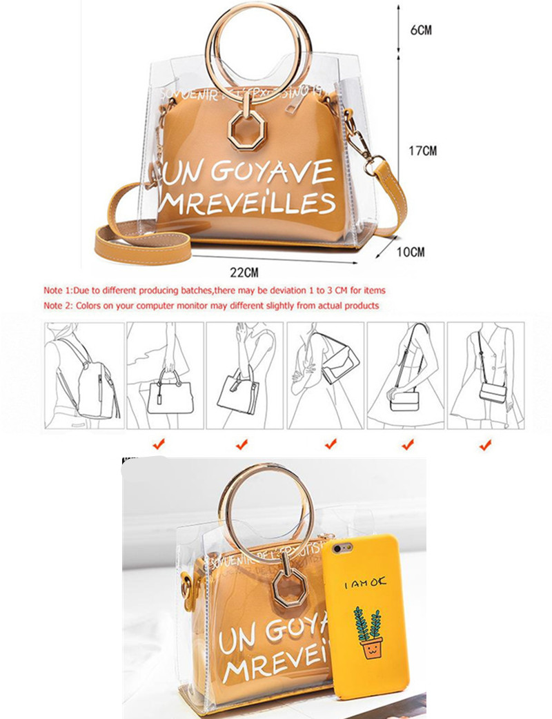 Anneau En Métal Clair Transparent PVC Femmes Sacs Lettre Jelly 2sets Femmes  Messenger Sac Bandoulière Poignée Composite Femelles Bolsa