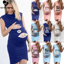 Chivry 2019 Fashion Women Maternity Dress Sleeveless Pregnancy Cartoon Letter Print Creative Pregnant Dresses