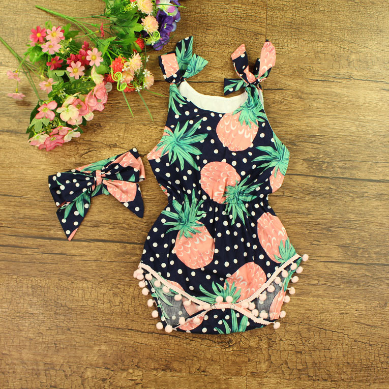 Newborn Baby Rompers+Headband Baby girls Clothes 2016 Summer Pineapple printing Baby Clothes Infant Girls Ropmpers Baby Romper summer newborn baby rompers ruffle baby girl clothes princess baby girls romper with headband costume overalls baby clothes