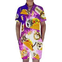Cat Eating Burger Print 3D Rompers Men Jumpsuit Playsuit Harem Cargo Overalls Summer One Piece Casual Zipper Beach Men's Sets