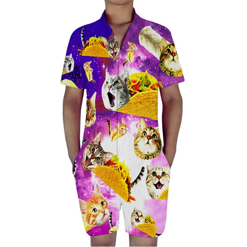 Cat Eating Burger Print 3D Rompers Men Jumpsuit Playsuit Harem Cargo Overalls Summer One Piece Casual Zipper Beach Men's Sets