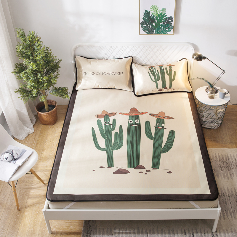 Cartoon Cactus Summer Cool Mat Kit Bed Protection Pad Polyester Fabric 2/3Pcs Pillow Cases Twin Full Queen Mattress Pad