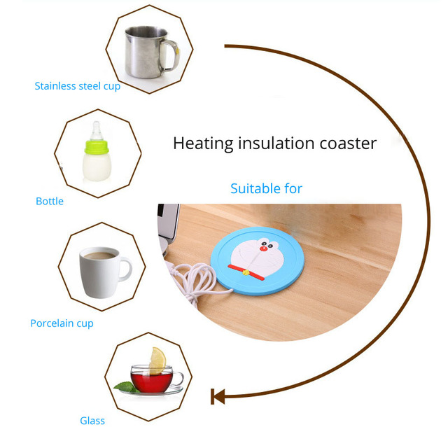 Portable USB Office Gadgets Heating Coaster Insulation Electric Coaster USB Gadget Insulation Mat Heating Pad Cup For Home 4