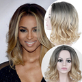 18In Ombre Wig Blonde Wigs For Black Women Short Wavy Curly Pixie Cut Wig Blonde Pelucas Pelo Natural Pruiken Pelucas Sinteticas