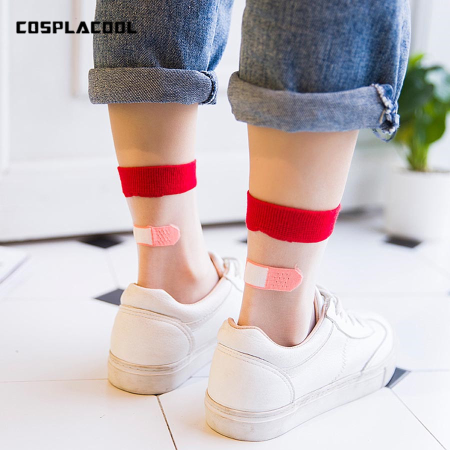 Women's Ultrathin Transparent Creative Personality Socks Meias Cartoon Heels Bandage Series Glass Silk Mesh Socks Japan Harajuku