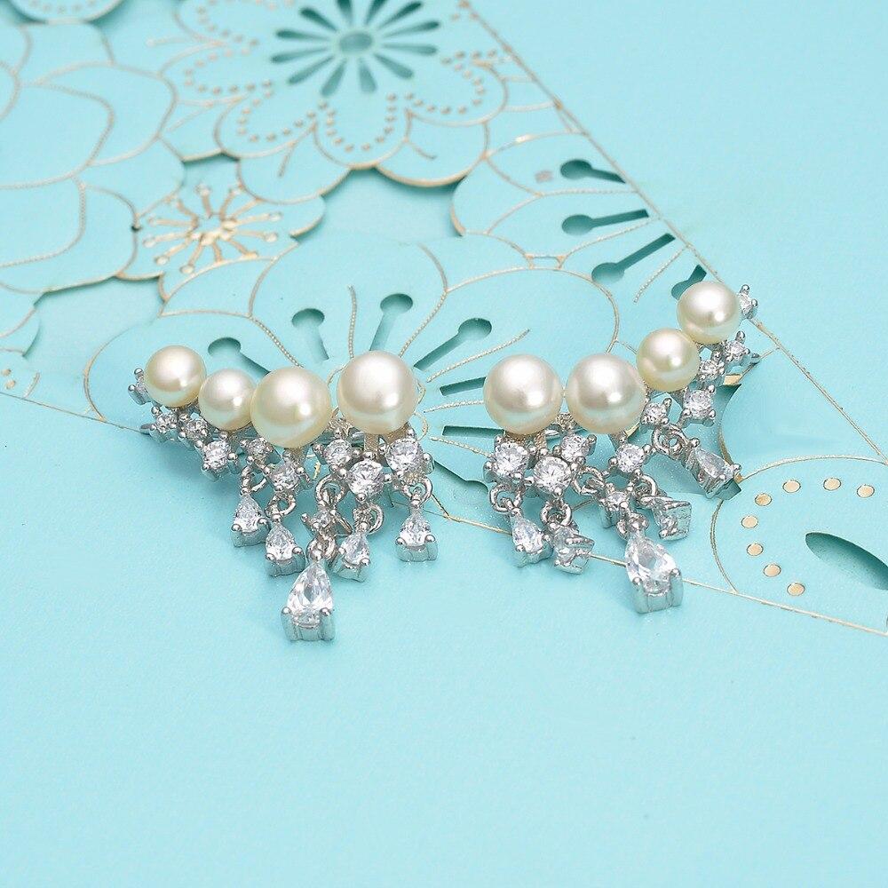 BELLA Fashion 925 Sterling Silver Teardrop Dangle Bridal Earrings Cubic Zircon Ivory Pearl Ear Cuff Wrap Crawler Vine Earrings