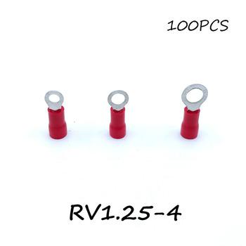Pierścień izolowane złącze listwy zaciskowej 100 sztuk RV1 25-4 czerwony kabel drutu elektryczne zaciskane Terminator A W G 22-16 czapka tanie i dobre opinie Crimp terminal Copper 0 75mm 22~16 0 5~1 5mm2