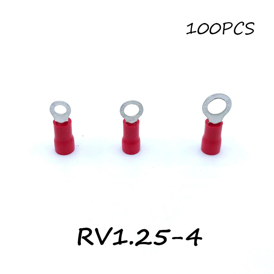 Ring Insulated Connector Terminal Block 100PCS RV1.25-4 Red Cable Wire Electrical Crimp Terminator A.W.G 22-16 Cap