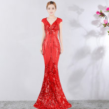80932127646 Corzzet Sexy Red Brocade sequins V-Neck Banquet Slim Evening Party Dress  Elegant Night Club Fishtail Long Dresses Vestidos Women