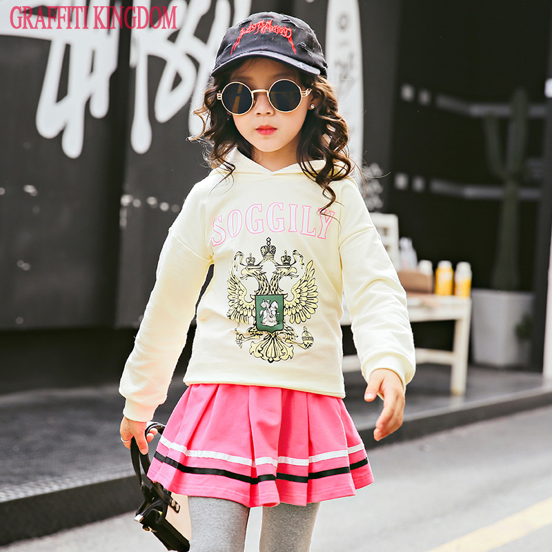 2 Pcs girls sweatshirt & hoodies + skirt New Arrival 2018 baby girl boutique fashion Clothes Sets kids clothes t shirt and pants 2016 new arrival baby girls outfits halloween baby kids boutique baby girl halloween sets with necklace and headband leg warmers