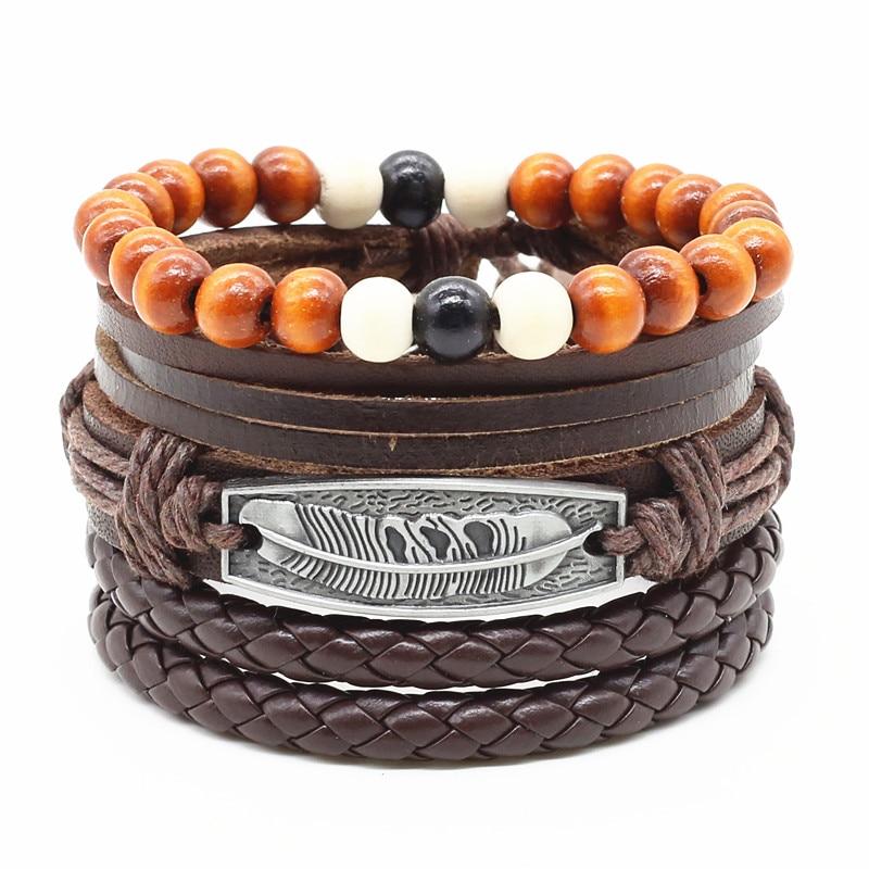 4pcs/set Handmade Fashion Trendy Vintage Female Femme Homme Male Punk Wood Bead Charm Men Leather Bracelet For Women Jewelry
