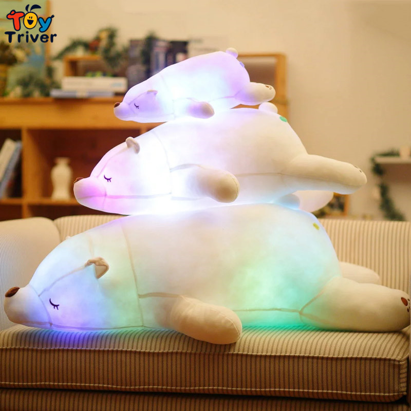 Glowing Luminous Led Light Up Plush White Polar Bear Toy Doll Bolster Cushion Stuffed Toys Birthday Gift Home Shop Decor Triver