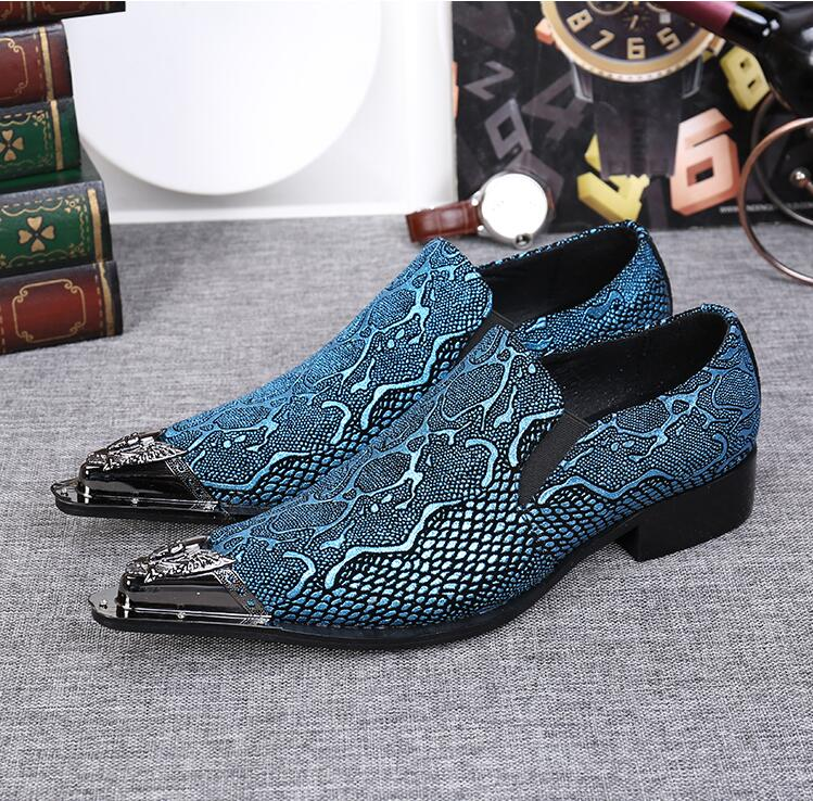 Slip-On Pointed Iron toes Oxforda Genuine Leather Men's Dress Shoes Low heel Snakeskin Elastic Band Smart Casual ShoesDark Blue blue leather look skater skirt with elastic band