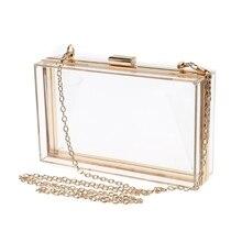 Bolso de mano transparente de estilo moderno, bolso de noche de lujo con correa de cadena, bolso de mensajero