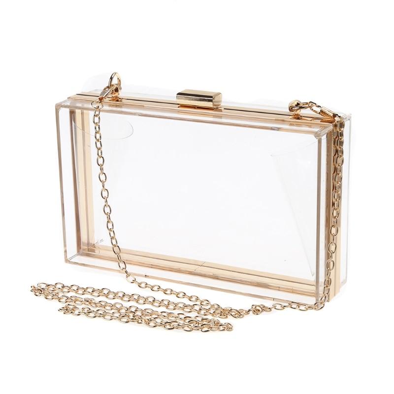 Fashion Style Transparent Clutch Bag Luxury Evening Handbag Chain Strap Messenger Bag цена