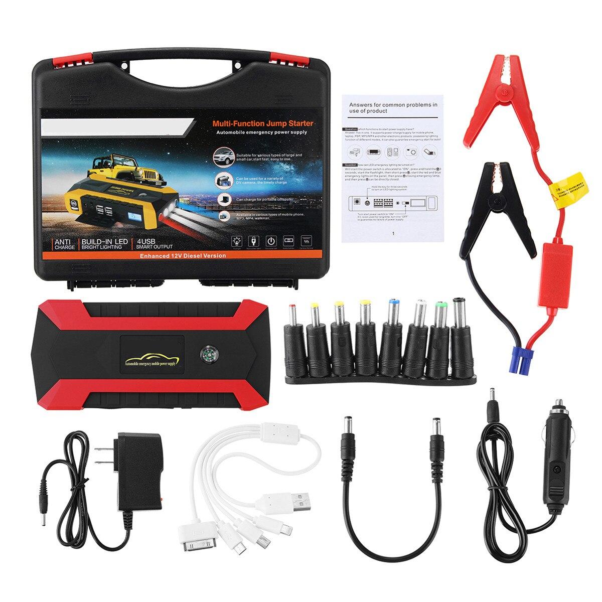 69800mAh 4USB Car Jump Starter Emergency Charger Power Bank Battery 12V Smart