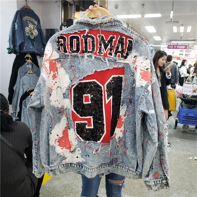 Frühling Harajuku Graffiti Druck Pailletten Denim Jacke frauen Lose Jacken Frühling Herbst Street Tragen Mode Student Basic Mäntel-in Basic Jacken aus Damenbekleidung bei  Gruppe 1