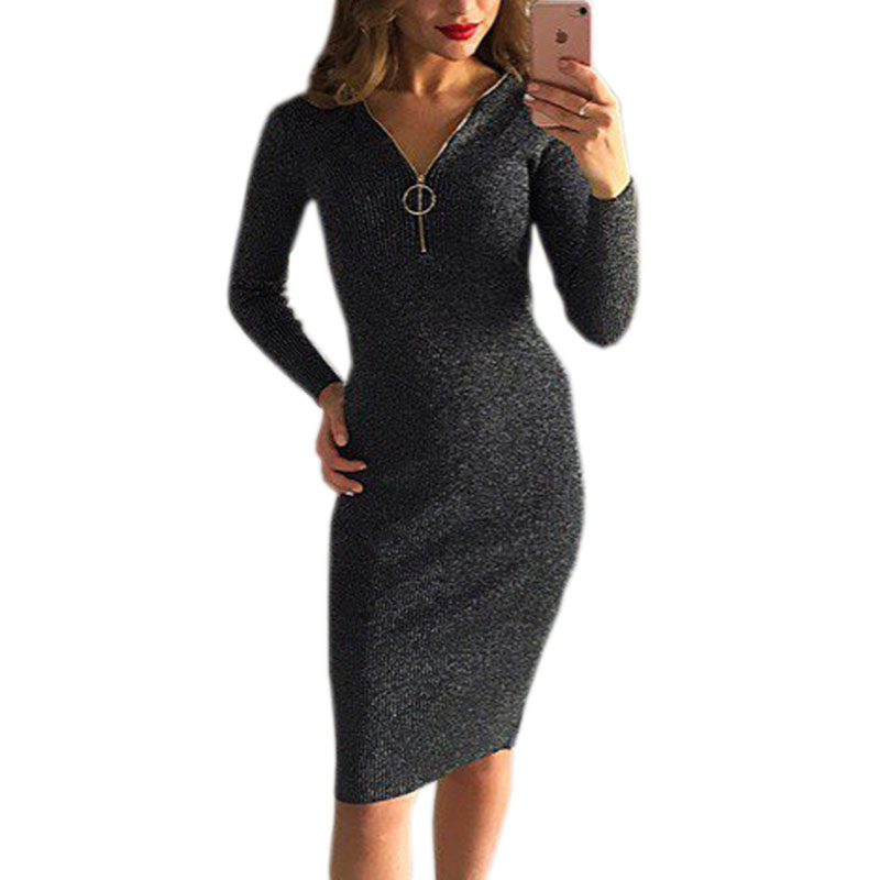 Knitted Knee-Length Dress Female Autumn Winter Bodycon Warm Dresses With Zipper Sexy Women Dress Long Sleeve Midi Dress GV1036