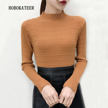 BOBOKATEER pullover women christmas sweater mujer turtleneck invierno 2019 pull femme hiver