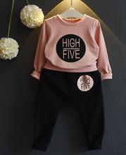 Autumn suit Baby Girls Letters printed fleece clothing + pants Suit Children 2pcs set wholesale