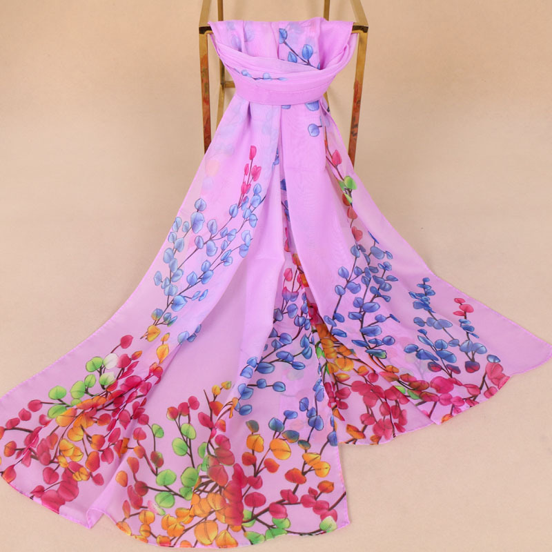 new 2018 women's chiffon   Scarf   summer flower printed beach shawls thin Colorful branches   scarf     wraps   155x50cm