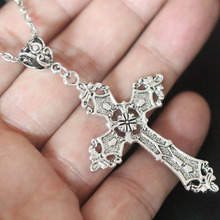 "Vintage Ancient Silver Cross Pendant 24"" Chain Necklace - Gothic Charms ~Religious Gift Women Christmas Gifts Bijoux Jewelry"