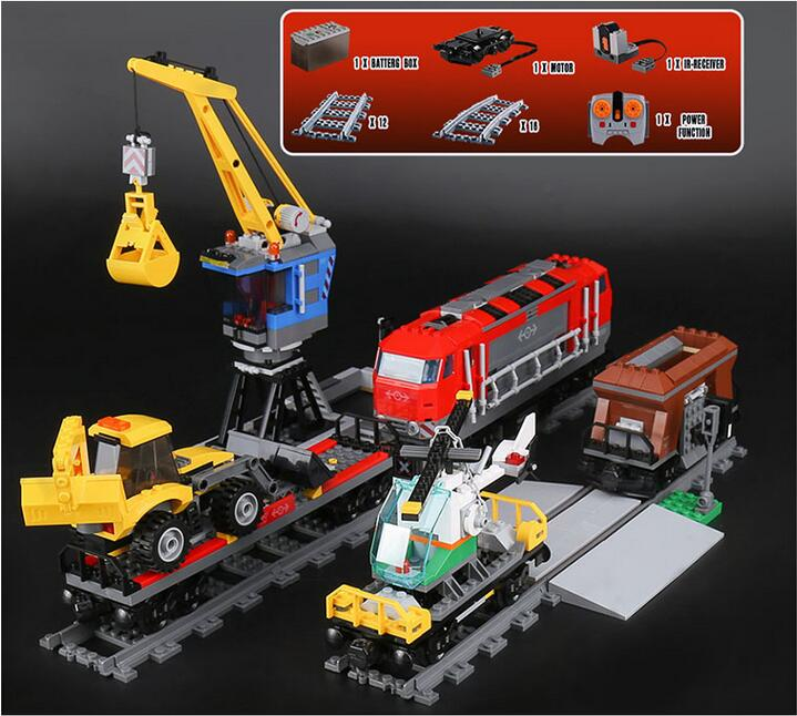 все цены на Lepin 02009 1033 pcs Model building kits compatible with lego city RC Heavy-haul Train Set 60098 Toy Building Block Toy онлайн