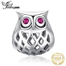 JewelryPalace 925 Sterling Silver Hollow Owl Beads Charms Silver 925 Original Fit Bracelet Silver 925 original Jewelry Making(China)