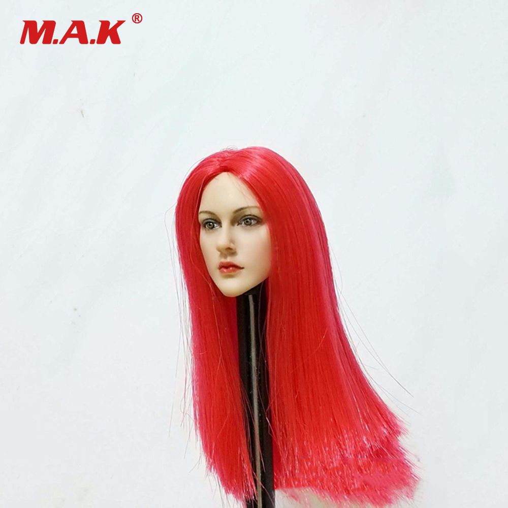 1:6 Scale Female Head Sculpt Accessories Red Long Hair Beautiful European Head Carving Model Toys for 12 inches Figure Body недорого