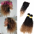 Peruvian Virgin Hair With Closure 3 Bundles Curly Hair With Closure Ombre Blonde Colored Human Hair Kinky Curly With Closure