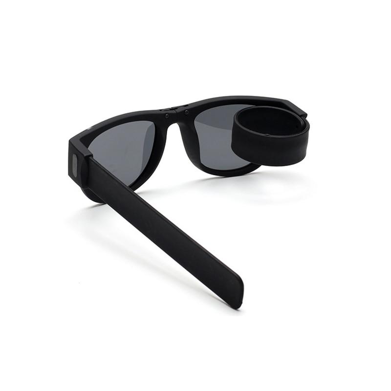 2018 Mini Folding  Sunglasses Women Men Cool Trendy Outdoor Sport Slap Shades Sunglasses UV400 Black Bracelet Oculos