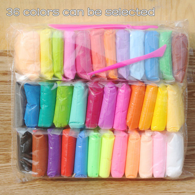 36pcs/lot Clay Polymer Air Dry Playdough Tools 36colors Modelling Light DIY Plasticine Learning Kids Plasticine Soft Blue Clay