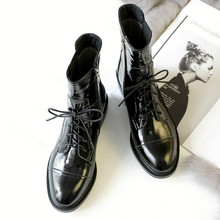 New leather patent Martin boots for autumn and winter 2018 Genuine Leather  shoes women