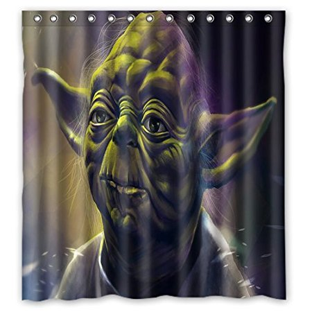 Bathroom Shower Curtains Yoda Star wars Art Style 180x180cm Eco-friendly Waterproof Fabric Shower Curtain