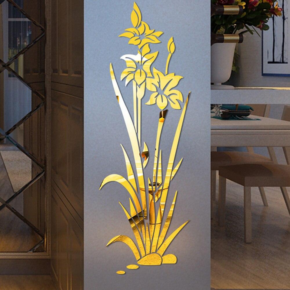 Adesivo 1pc Arte de parede Espelho Em Forma De Lótus superfície escritório doméstico Adesivo Bl