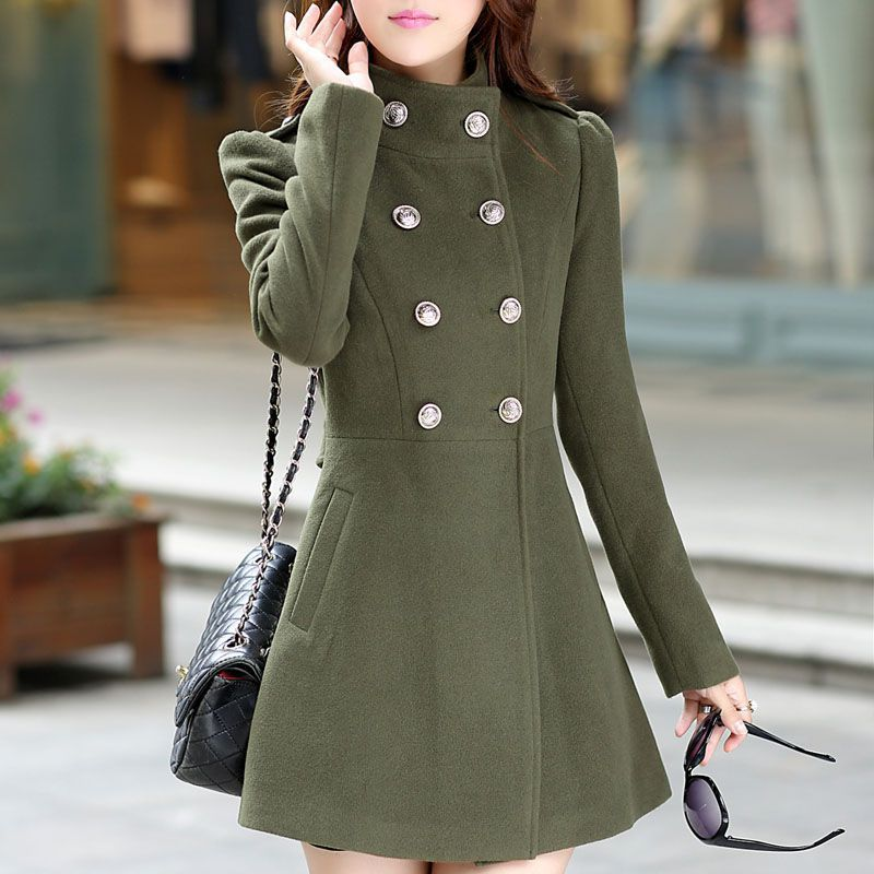 25bc5d6cb1ca Autumn Winter Women A Line Skirt Coat Double Breasted Slim Medium Long  Solid Color Trench Coats Female Jackets Trench Coat -in Wool   Blends from  Women s ...